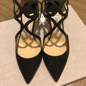 Jimmy Choo Lancer Fine Glitter Black Size 36.5